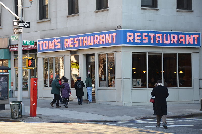 Tom's Restaurant from Suzanne Vega's song at 2880 Broadway (on the corner of 112th Street), in New York, photo via wikipedia