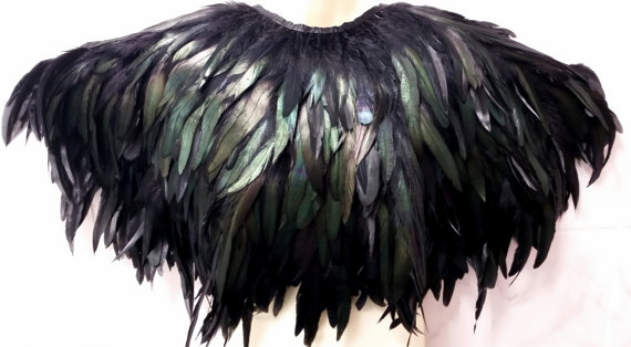 Beautiful black feather cape by WhiteLotusCouture
