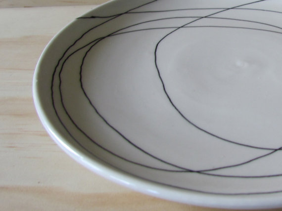 Black and white plate by Melissa Maya Pottery