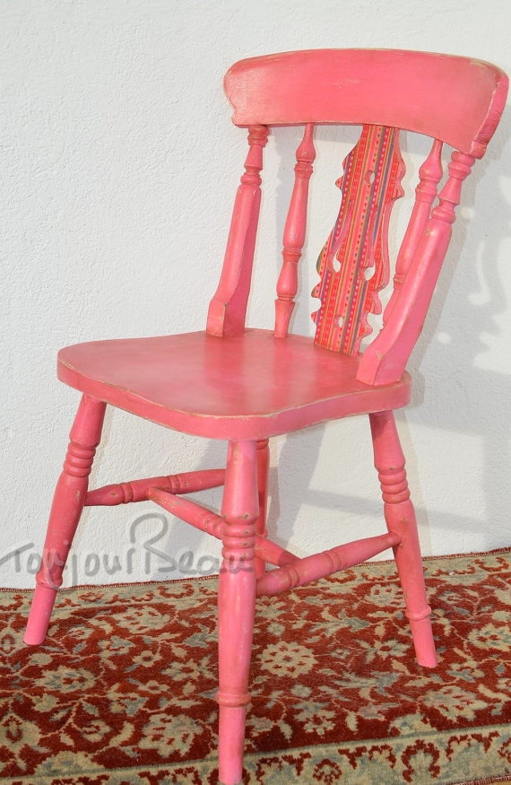 Unique pink wooden chair by ToujourBeau