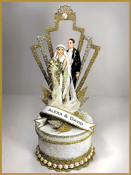 Art Deco Wedding cake decoration by PatriciaMinishDesign