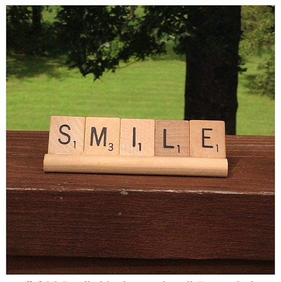 Smile scrabble upcycled sign by CelebrateTheMoment