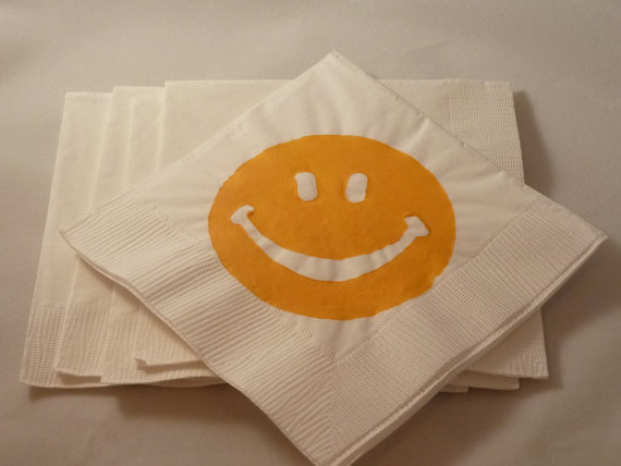 Smiley Coctail Napkins by TheFortunateHome