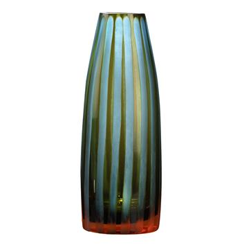 Cyan Blue and Orange Striped Chiseled Glass Vase by Kathy Kuo Home