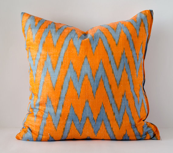 Orange Ikat pillow by Silk Way