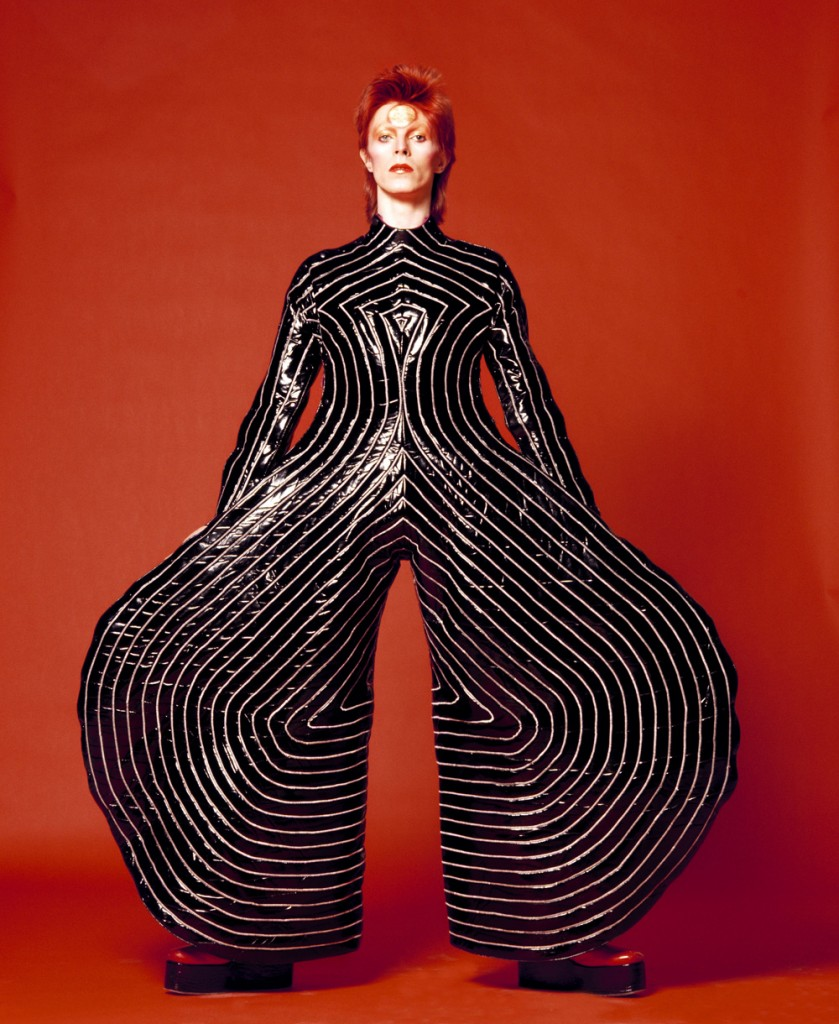 Striped bodysuit for Aladdin Sane tour 1973 - Design by Kansai Yamamoto; Photograph by Masayoshi Sukita