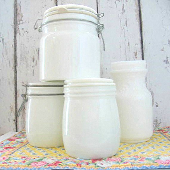 Milk glass jars