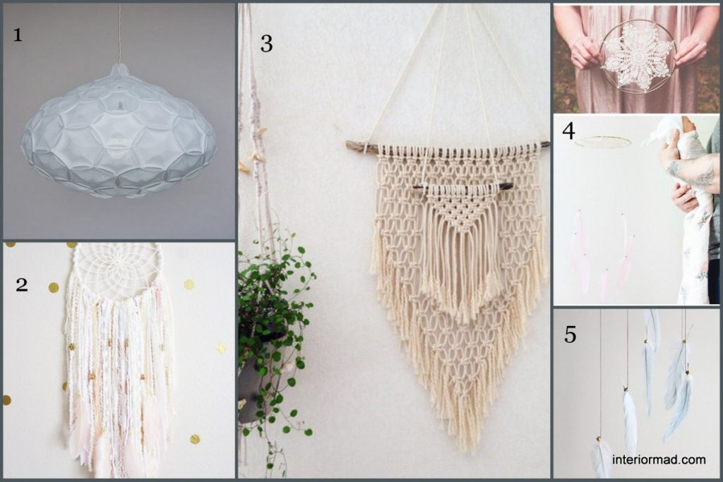 1. Pendant lamp by 24dstudio 2. Dreamcatcher by PoshPaxDesigns 3. Wall hanging via MyFrenchTreasuries 4. & 5. Dreamcatchers by TheDreamBarn