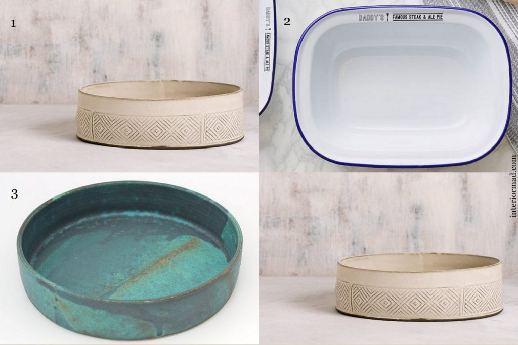 1. Baking dish by FreeFolding 2. Baking pan via SophiaVictoriaJoy 3. Baking dish by CeramicART4U