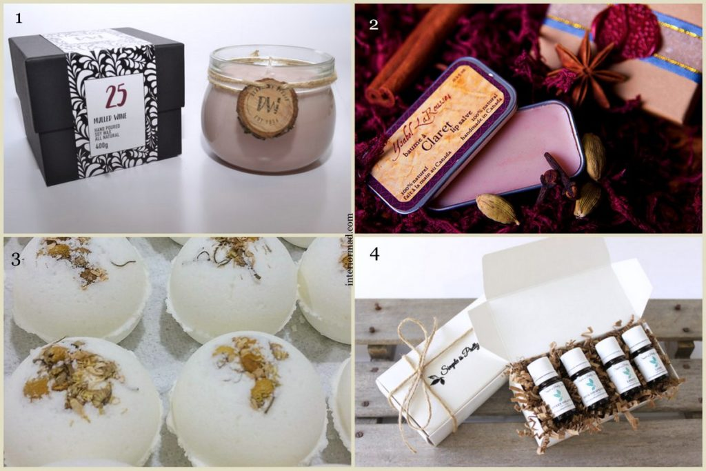 1. Candle via deadwoodstudio 2. Lip balm by YsabelLarousse 3. Bath bombs by CallMeSugarCosmetics 4. Citrus Oils by SimpleisPrettyShop