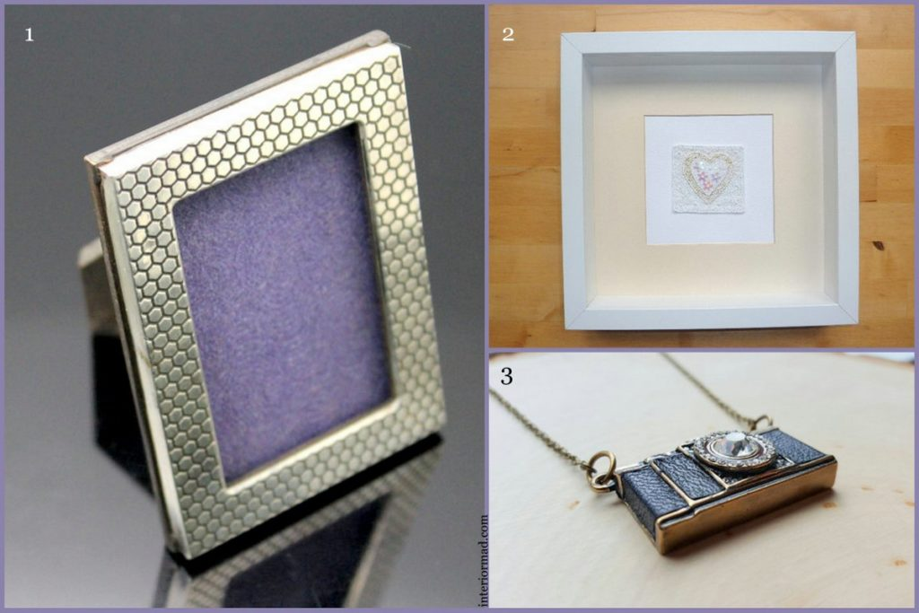 1. Silver photo frame via AllureUnited 2. Picture via PicturePerfect2014 3. Mini camera necklace by HempClub