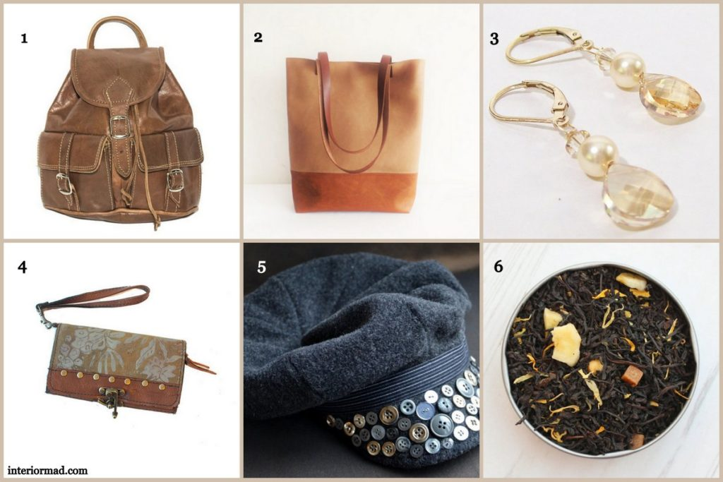 1. Bag via 80sStyleBags 2. Bag via allbyFedi 3.Earrings by bonitaj 4. Clutch wallet via urbangipsydesign 5. Hat by soilevuoartandcrafts 6. Tea by PostTea